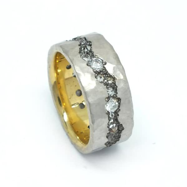 Gold on Gold Fissure Diamond Band